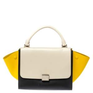 Celine Tricolor Leather Small Trapeze Bag