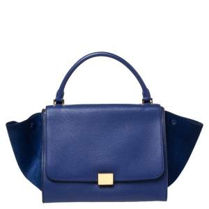 Celine Blue Leather and Suede Medium Trapeze Top Handle Bag