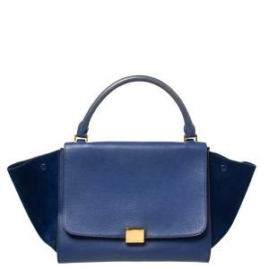 Celine Two Tone Blue Leather and Suede Medium Trapeze Top Handle Bag