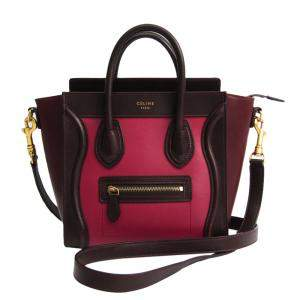 Celine Bordeaux/Pink Leather Luggage Nano Shopper Bag