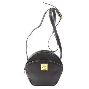 Celine Black Leather Logo Shoulder Bag