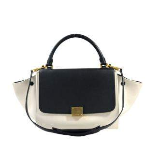 Celine White/Black Canvas Leather Trapeze Top Handle Bag