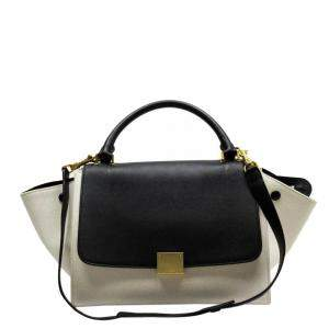 Celine Black/White Leather and Canavs Trapeze Top Handle Bag