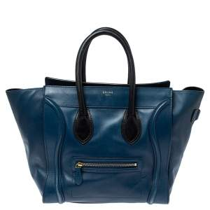 Celine Blue/Black Leather Mini Luggage Tote