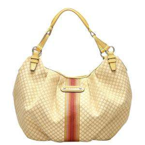 Celine Brown/Beige Macadam Jacquard Hobo Bag