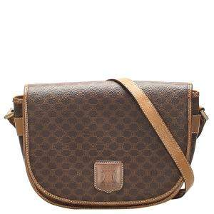Celine Brown/Tan Vintage Macadam Crossbody Bag