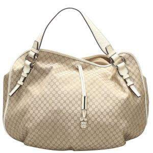 Celine Beige Macadam Coated Canvas Hobo