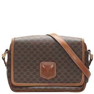 Celine Brown Canvas Vintage Macadam Crossbody Bag