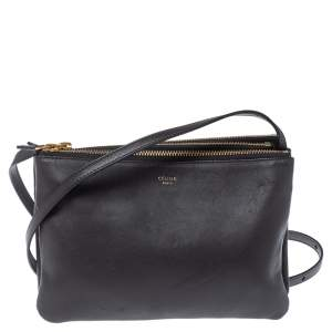 Celine Dark Grey Leather Trio Shoulder Bag