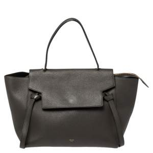 Celine Dark Grey Leather Small Belt Top Handle Bag