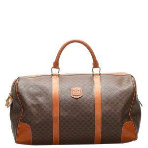 Celine Brown Macadam Coated Canvas Travel Bag
