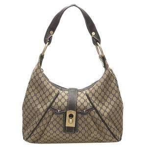 Celine Grey Blue Macadam Canvas Shoulder Bag