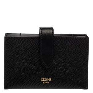 Celine Black Leather Accordeon Card Holder