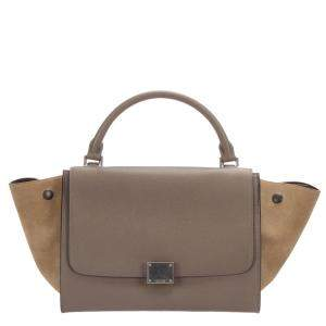Celine Brown/Beige Leather Trapeze Satchel Bag