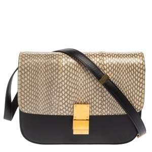 Celine Black/Beige Snakeskin and Leather Medium Classic Box Shoulder Bag