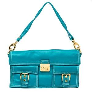 Celine Turquoise Leather Vintage Shoulder Bag