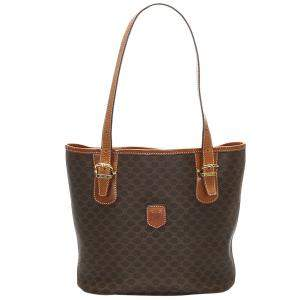 Celine Brown Macadam PVC Leather Tote Bag