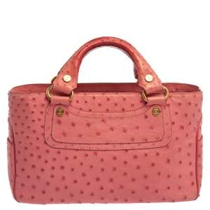 Celine Pink Ostrich Boogie Tote