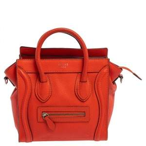 Celine Orange Leather Nano Luggage Tote