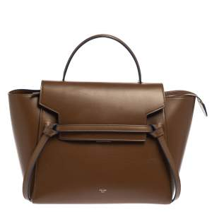 Celine Brown Leather Micro Belt Top Handle Bag