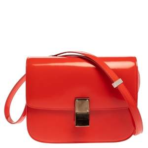 Celine Tangerine Leather Medium Classic Box Shoulder Bag