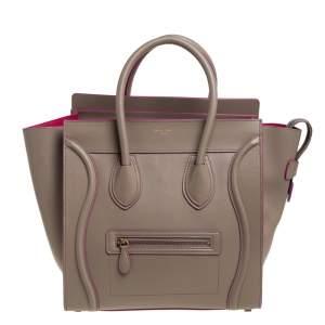 Celine Beige/Pink Leather Mini Luggage Tote