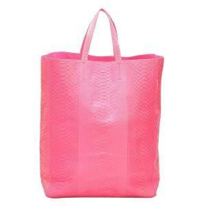 Celine Pink Python Leather Vertical Cabas Tote Bag