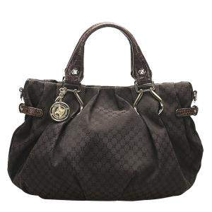 Celine Black Macadam Canvas Satchel Bag