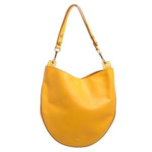 Celine Mustard Leather Medium Hobo