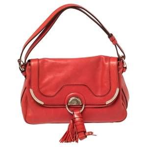 Celine Red Leather Tassel Falp Hobo