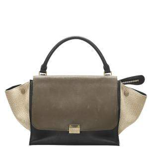 Celine Tricolor Leather Trapeze Large Top Handle Bag