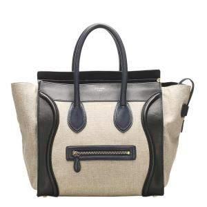 Celine Brown/Beige Hemp The Luggage Tote Bag