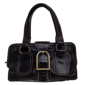 Celine Brown Leather Buckle Satchel