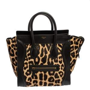 Celine Black Animal Print Calf Hair and Leather Mini Luggage Tote
