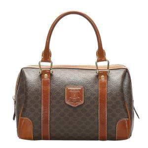 Celine Brown/Dark Brown Macadam Boston Bag