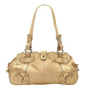 Celine Brown/Beige Leather Shoulder Bag