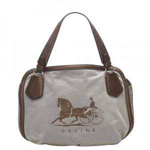 Celine Grey Carriage Canvas Tote Bag