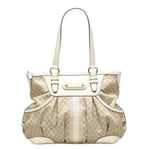 Celine Brown/Beige Canvas Macadam Shoulder Bag