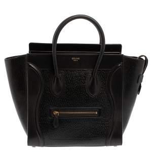 Celine Black Astrakhan Embossed Leather Mini Luggage Tote