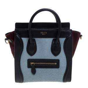 Celine Tri Color Calf Hair and Leather Nano Luggage Tote