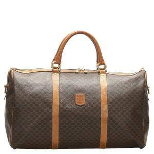 Celine Brown/Beige Coated Canvas Macadam Travel Bag