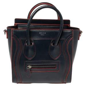 Celine Navy Blue/Red Leather Nano Luggage Tote