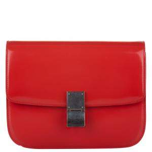 Celine Red Leather Medium Classic Box Shoulder Bag