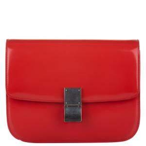 Celine Red Leather Medium Classic Box Shoulder Bag