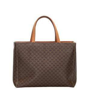 Celine Brown/Dark Brown Coated Canvas Macadam Tote Bag