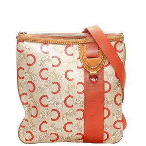 Celine Orange/White Carriage Canvas Crossbody Bag