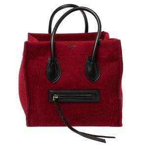 Celine Red/Black Wool and Leather Medium Phantom Luggage Tote