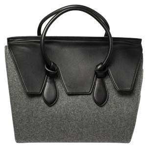 Celine Grey Felt and Leather Medium Tie Tote