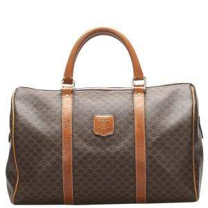 Celine Brown/Dark Brown Macadam Canvas Boston Bag