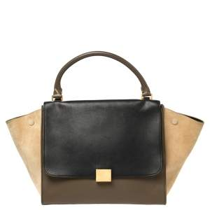 Celine Tri Color Leather and Suede Medium Trapeze Top Handle Bag